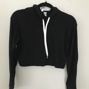 H and M Black Cropped Hoodie